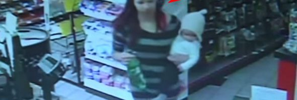 Clerk-Grabs-Baby-from-Woman-Before-She-Collapses_thumb